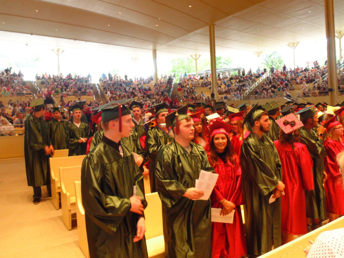 Members of the 2017 Jamestown High School Class are on to the next phase of their lives. On Thursday, Jamestown High School graduates received their diplomas at Chautauqua Institution's Amphitheater. P-J photo by Jimmy McCarthy