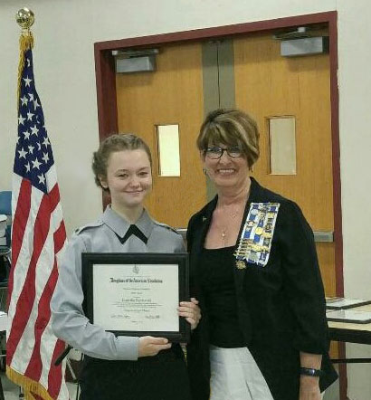 Genielle Byczynski, winner of the state DAR Bronze Metal, Certificate and Scholarship, is pictured with Brenda Johnson, Regent of the Benjamin Prescott Chapter NSDAR.