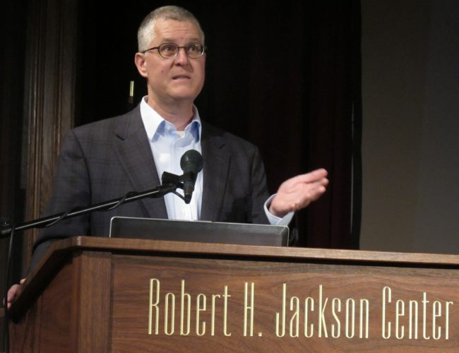 "John Q. Barrett, Robert H. Jackson Center board member and St. John's University professor of law, speaking about Jackson during the ""How 'Far Gone' Are We Now? Immigration, Security & American Values, From Justice Jackson's Time To Our Own"" program on immigration law. Several speakers, including Barrett, spoke during the program held at the Jackson Center, 305 E. Fourth St., Friday. P-J photo by Dennis Phillips"