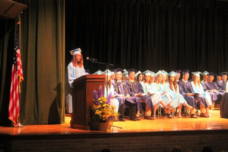 Salutatorian Cecilia Pearson delivers her speech to her fellow Frewsburg graduates Friday.