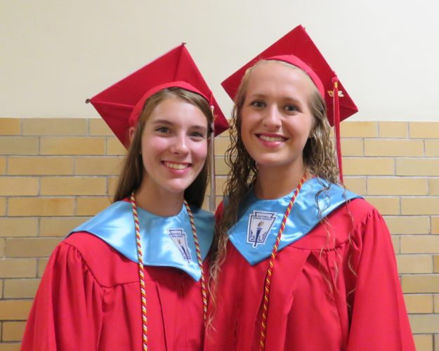 Randolph Central School Valedictorian Annalise Boyer, left, and Salutatorian Emily Matson pose before graduation on Friday. Ed Johnson, business consultant and founder of Johnson Integrated Services, was guest speaker. P-J photo by Deb Everts