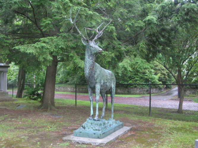 "The bronze elk statue, which was removed in late Feburary for refurbishing and repairs, was returned to its home at the cemetery's ""Elks' Rest"" lot earlier this month. P-J photo by Gavin Paterniti"