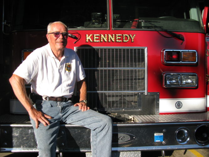 Ed Hoene has been a volunteer firefighter in Kennedy for 45 years, serving either as fire chief or assistant chief during almost half that time. Hoene is pictured at the fire department on Daily Hill Road in Kennedy.  P-J photo by Eric Tichy