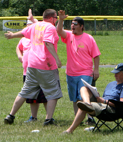 Above is some of the action from Saturday's One Ball Wiffle Ball Tournament in Frewsburg.  P-J photos by Matt Spielman