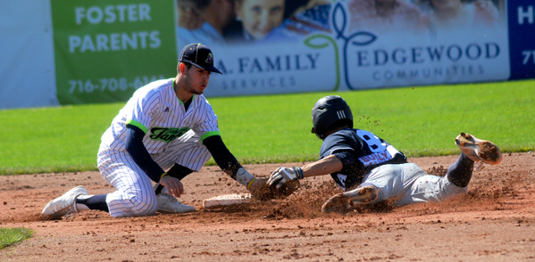 Jamestown's Alex O'Donnell tags out Elmira's Joseph Preziuso on a stolen-base attempt during the fourth inning of Sunday's Perfect Game Collegiate Baseball League game at Diethrick Park. P-J photo by Matt Spielman