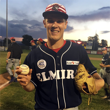 Elmira's Houston Roth holds up a game ball after striking out 20 Newark Pilots in Perfect Game Collegiate Baseball League action Saturday night. Photo by Tyler Biedron, courtesy of Perfect Game  Collegiate Baseball League