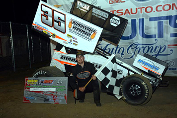 Jared Zimbardi brought home the Patriot Sprint Tour checkered flag Saturday night at Stateline Speedway. Submitted photo