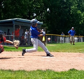 Southwestern's Brody Larson hits a triple to lead off Saturday's District 38 9-10 Little League tournament game against Valley in Falconer. Submitted photo