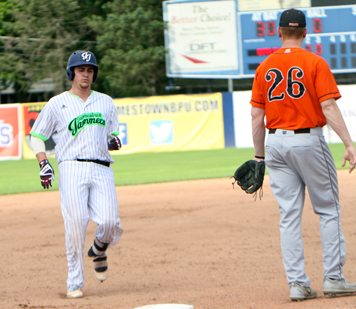 Jamestown's Ben Brookover coasts into third base after a triple during the third inning of Sunday's Perfect Game Collegiate Baseball League game at Diethrick Park in Jamestown. P-J photo by Matt Spielman