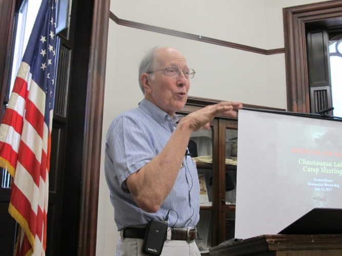 Richard P. Heitzenrater, Duke University Divinity School professor of church history and Wesley studies, gave his presentation titled Mixing Oil and Water: Chautauqua Lake Camp Meeting on the early days of Chautauqua Institution.  P-J photo by Dennis Phillips