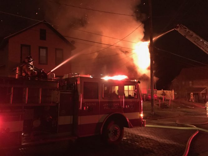 July selection is set to begin next month in the trial of Jonathan H. Young, the man accused of setting multiple fires in New York and Pennsylvania. Pictured is a blaze on Crossman Street that police say Young allegedly set on March 25 in Jamestown.  P-J file photo