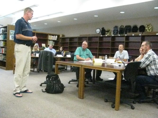 Jeff Collver, former Frewsburg High School Girls Varsity Basketball Coach, addresses the Frewsburg Board of Education regarding the coaching position and advocates for his brother, Rob Collver, to be appointed to the position. He had been the coach for 21 years.  P-J photo by Katrina Fuller