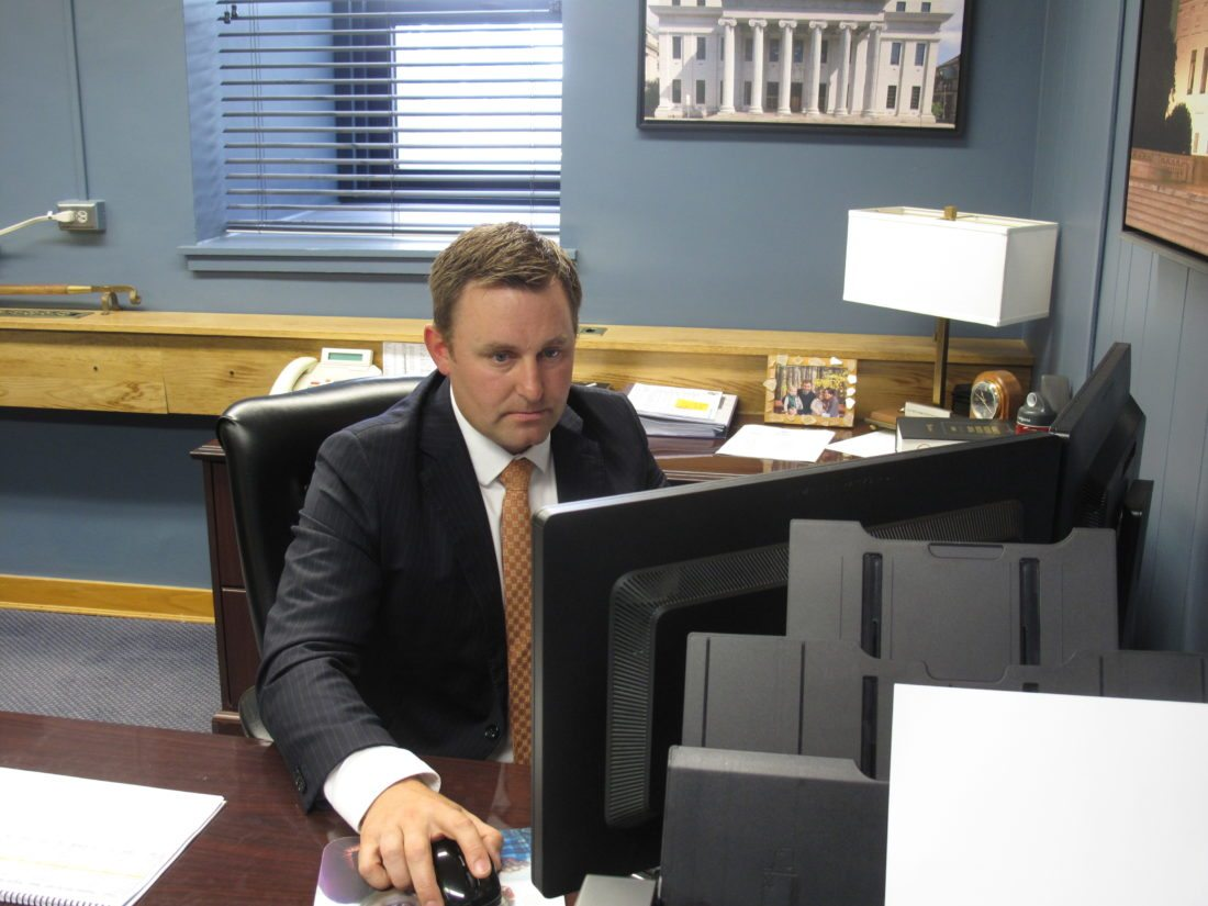 Patrick Swanson, Chautauqua County district attorney, pictured inside his office in Mayville. Swanson is requesting the hiring of a narcotics prosecutor devoted to prosecuting drug cases and potentially increasing sentences. P-J photo by A.J. Rao