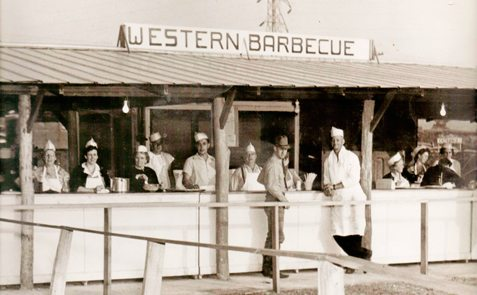 Times have changed, but the rodeo barbecue dinners tradition still carries on. The photo above is from the sixth annual rodeo in 1951. Submitted photo