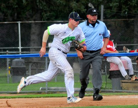 Jamestown first baseman Ben Brookover races to the bag for an out during the second inning of Sunday's Perfect Game Collegiate Baseball League against Onondaga at Diethrick Park in Jamestown. P-J photo by Matt Spielman