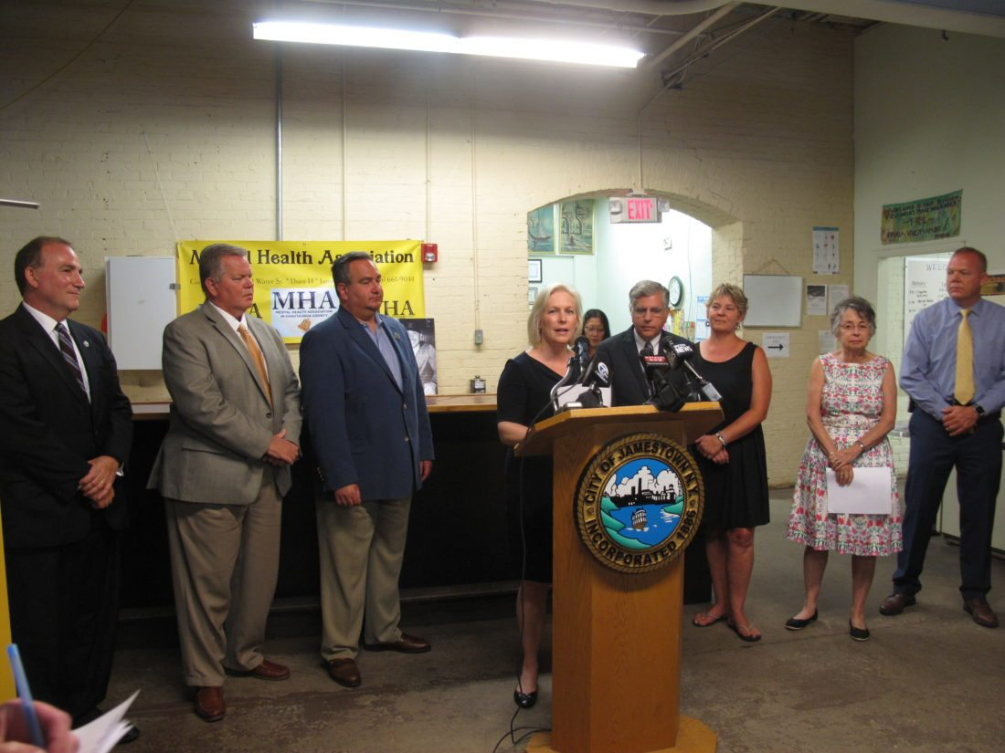 U.S. Sen. Kirsten Gillibrand, D-N.Y., visited the Mental Health Association in Chautauqua County on Monday to announce the Opioid Addiction Prevention Act, which limits the supply of an initial opioid prescription for acute pain to seven days. P-J photo by A.J. Rao