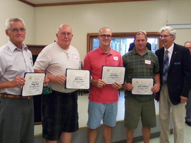 Pictured from left are Doug Neal, Bob Crane, Joel Fisher and Matt Oehlbeck being recognized with New York State Assembly citations by Assemblyman Andy Goodell, R-Jamestown.  P-J photo by Katrina Fuller