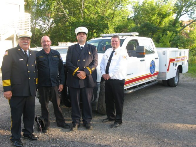 The Chautauqua County Technical Rescue Team recently took ownership of a new rescue truck, donated by Charlie Smith, a former member of the all-volunteer group. Pictured, from left, are Julius Leone, Charlie Smith, Noel Guttman and Brian Purol.