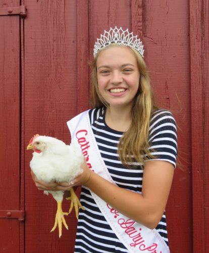 Lauren Eaton is the Cattaraugus County Dairy Princess for 2017-18. As reigning dairy princess, she will present awards and ribbons to winning exhibitors at the Cattaraugus County Fair that begins Monday. P-J photo by Deb Everts