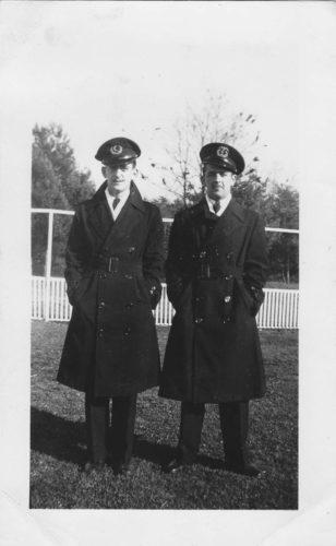 Gerald Augusto, right, in his Merchant Marine uniform.