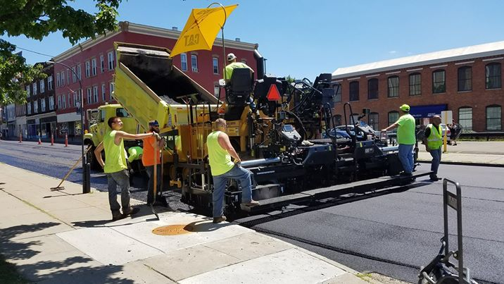The city of Jamestown's new CAT AP1000F asphalt paver on Second Street. City officials purchased the paver last month for $420,000. Submitted photo