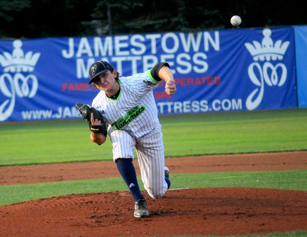 Jamestown Jammers starting pitcher David Lyskawa delivers to the plate during the first inning of Tuesday night's Perfect Game Collegiate Baseball League playoff game against Onondaga at Diethrick Park.  P-J photos by Matt Spielman