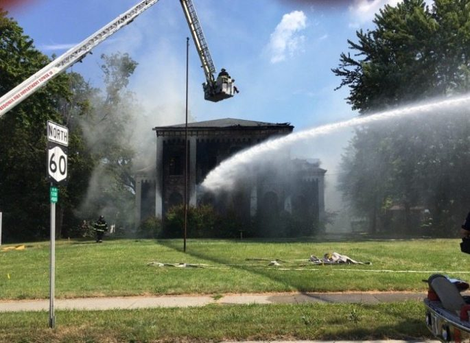 An emergency demolition was ordered Wednesday at a century old building in Dunkirk after a fire broke out. The cause of the fire wasn't immediately known.  P-J photo by Greg Bacon