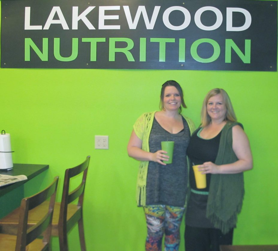 Charity Nuse, left, and Amanda Barton, co-owners of Lakewood Nutrition, recently opened their new nutrition club inside The Fitness Bunker at 9 W. Summit St. in Lakewood. P-J photo by Gavin Paterniti