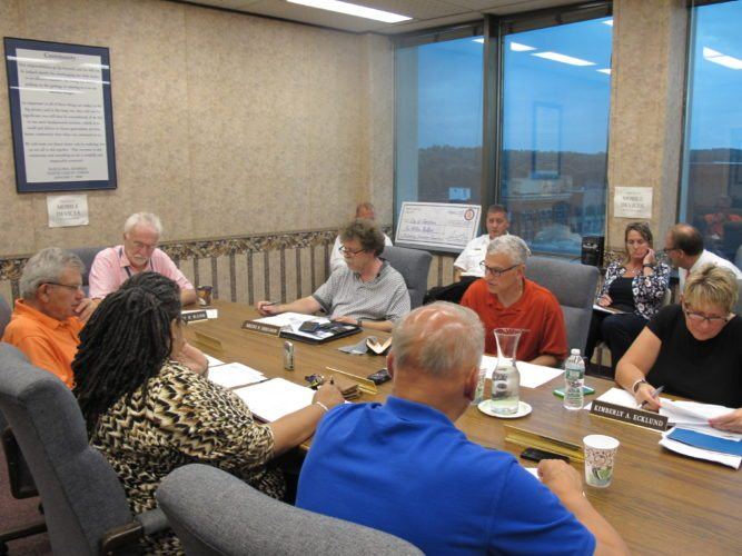 Jamestown City Council discusses second quarter sales tax revenues during their work session meeting Monday. P-J photo by Dennis Phillips