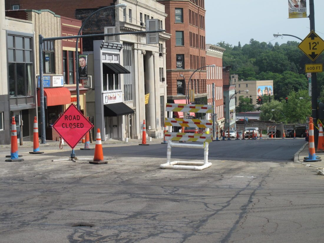 Road reconstruction is scheduled for North Main Street in Jamestown beginning Friday. Due to the replacement of a broken water main and reconstruction last year, several area business owners saw a decline in the number of customers.  P-J file photo by A.J. Rao
