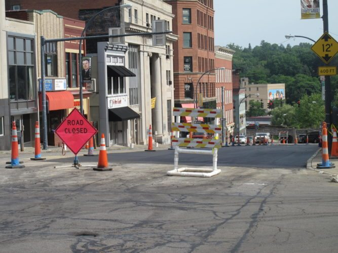 Road reconstruction is scheduled for North Main Street in Jamestown beginning Friday. Due to the replacement of a broken water main and reconstruction last year, several area business owners saw a decline in the number of customers.  P-Jfile photo by A.J. Rao