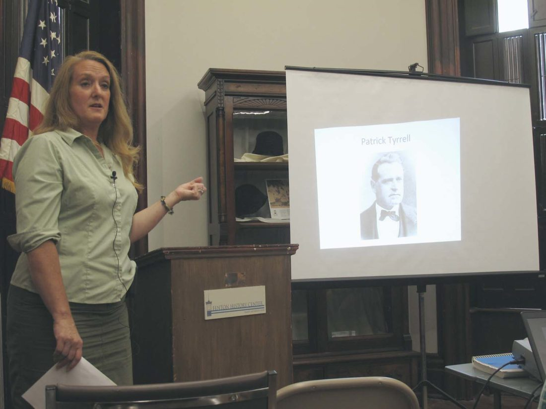 Michelle Henry, Chautauqua County historian and records manager, exploring the consequential — and checkered — life of Patrick Tyrrell during the Fenton History Center's latest Brown Bag Lecture. P-J photo by A.J. Rao