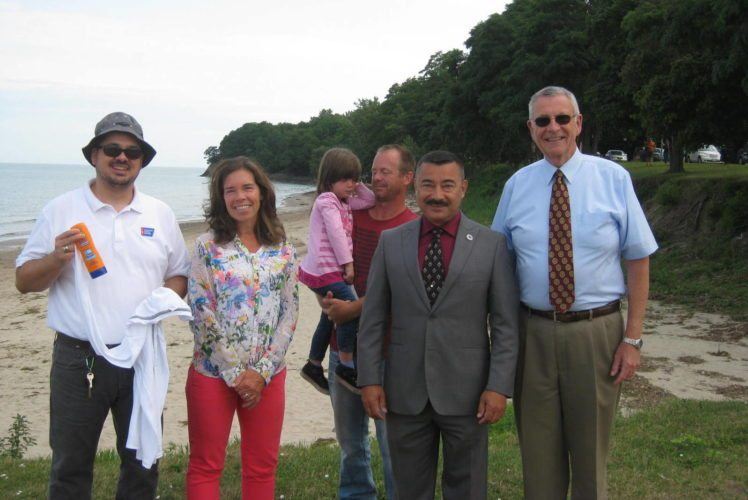 Mike Porpiglia of the American Cancer Society; Shelly Wells, Public Health Planner of the Chautauqua County Department of Health and Human Resources; Chloe and her father Glenn Hurrell; Dunkirk Mayor Willie Rosas; and Vince Horrigan, Chautauqua County executive.  Submitted photo