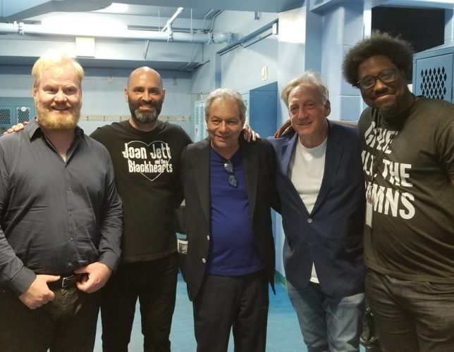 Backstage at the National Comedy Center's Lucille Ball Comedy Festival. Pictured, from left, are: Jim Gaffigan, Ted Alexandro, Lewis Black, Alan Zweibel and W. Kamau Bell. Photos courtesy of the National Comedy Center