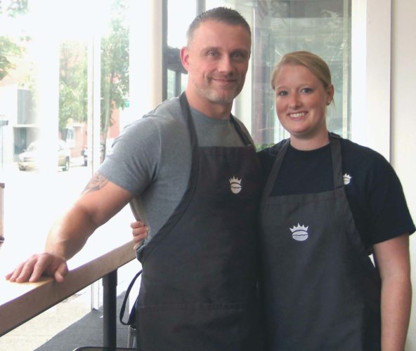 From left, Michael and Sarah Bigney are excited to welcome visitors to their new coffee house and roasting operation, Crown Street Roasting Company.   P-J photo by Katrina Fuller