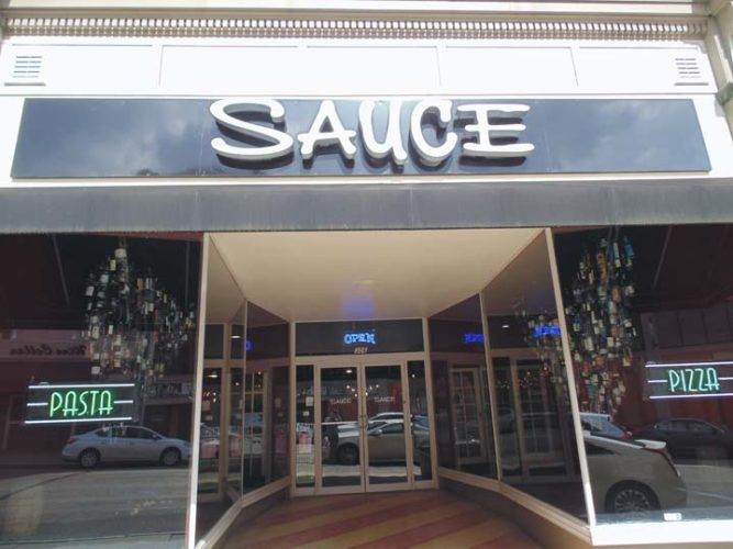 SAUCE opened its doors on North Main Street in Jamestown on July 26. The upscale pizzeria features authentic pasta dishes, specialty pizzas, salads and more.  P-J photo by Jimmy McCarthy