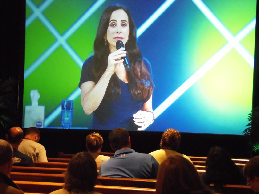 Juliet Funt, Whitespace at Work CEO, spoke of families, work and time management both in the office and at home during the Global Leadership Summit.  P-J photo by Katrina Fuller