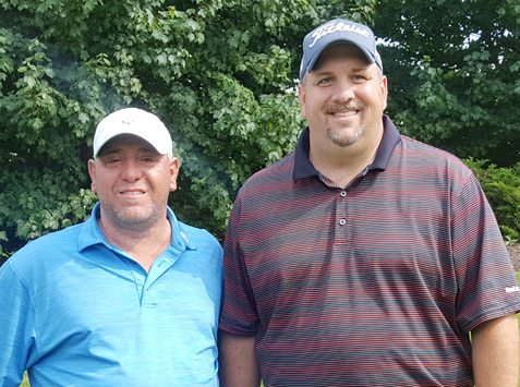 From the left are Chris Pappalardo and Jamie Barton, who captured the Frank Vassallo Memorial Moon Brook Country Club Member-Guest Invitational on Saturday. Submitted photo