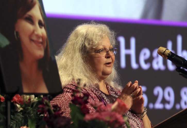 Susan Bro, mother to Heather Heyer, speaks during a memorial for her daughter, Wednesday, Aug. 16, 2017, at the Paramount Theater in Charlottesville, Va.  Heyer was killed Saturday, when a car rammed into a crowd of people protesting a white nationalist rally.   AP photo