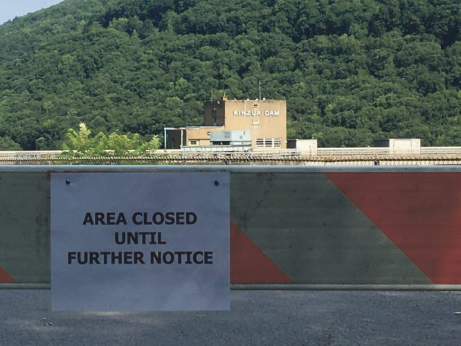 """An """"ongoing law enforcement issue"""" has temporarily closed the recreation areas around the Kinzua Dam in Warren, Pa. The closure is due to a reported threat.  P-J photo by  Josh Cotton"""