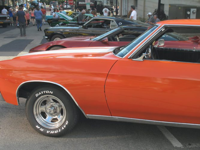 Around 300 classic cars, trucks and specialty vehicles parked downtown Friday for the Jamestown Cruise-In auto show. The event, which also featured food and live music, has been a staple of the city during the summer for the past 25 years under the name Motor Mayhem.  P-J photo by A.J. Rao