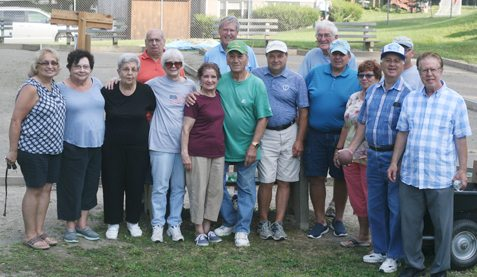 Members of the Catholic Bocce League pose for a photograph Monday night at St. John Church in Jamestown. P-Jphoto by Cody Crandall