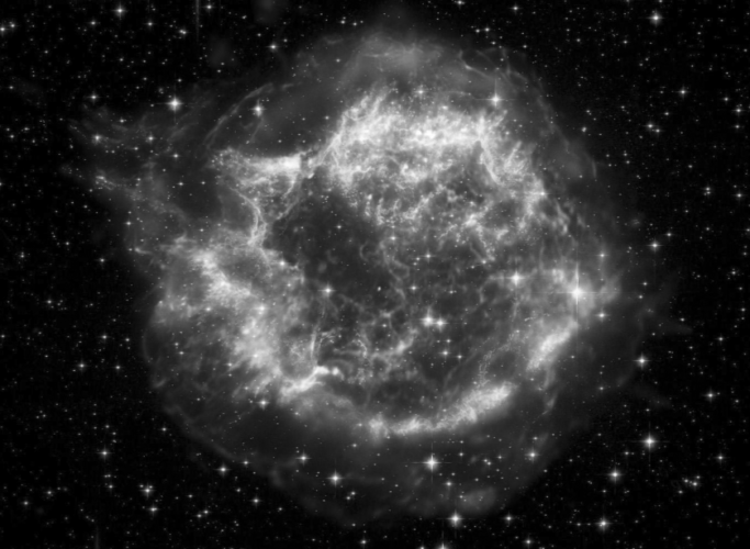 This image shows the remains of an enormous explosion that tore a massive star apart some 300 years ago. The debris was ejected into space at millions of miles per hour, and this is the way it appears today. All types of radiation, at different energy levels, is still streaming outward from the remnant.                                Courtesy NASA, CXC, SAO