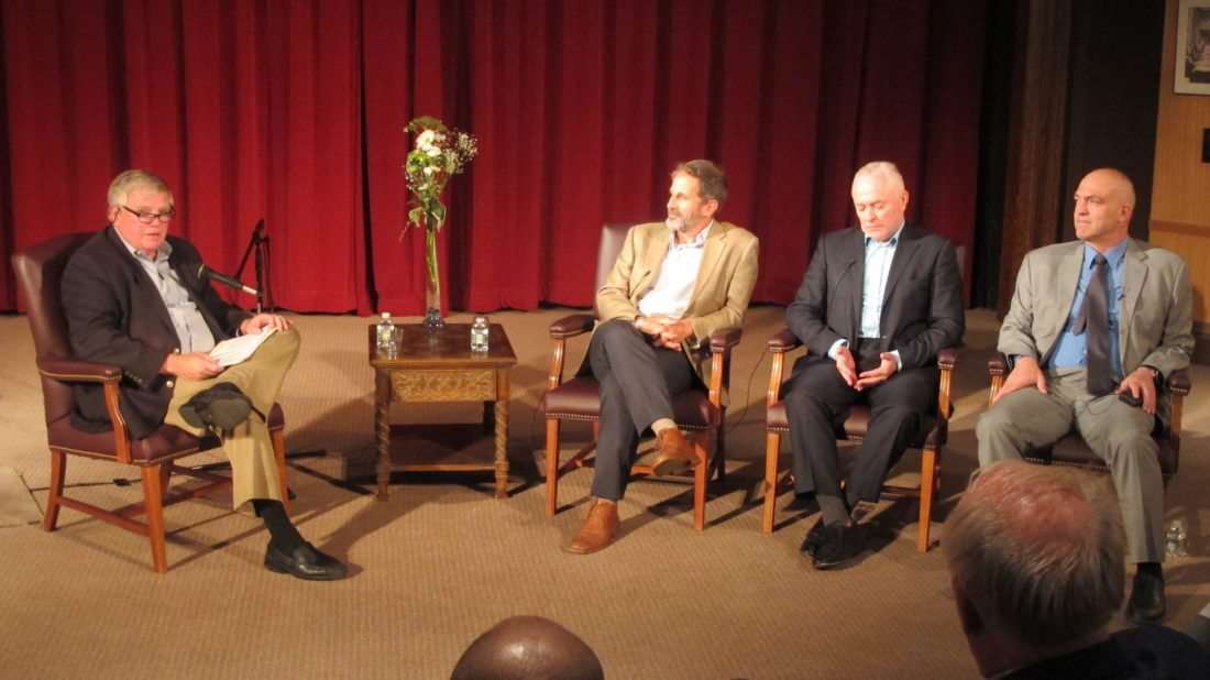 From left, Gregory Peterson leads a discussion regarding the prosecution of the members of the Khmer Rouge with international prosecutors Robert Petit, Andrew Cayley and Nicholas Koumjian at the 11th annual International Humanitarian Law Dialogues at the Robert H. Jackson Center on Sunday. P-J photo by Remington Whitcomb