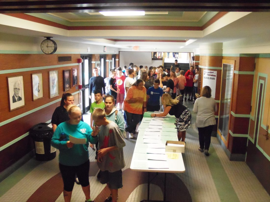 Incoming Jamestown High School freshmen visited their new stomping grounds on Wednesday to receive their schedules, tour the school and hear from older students about the life of a high schooler.  P-J photo by Katrina Fuller