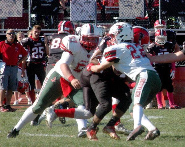 Jamestown senior Andrew Pumford is the Red Raiders' 2017 co-captain while starting at slot receiver and free safety. Pumford is also the team's holder on kicks and a member of the punt return team. P-J file photo