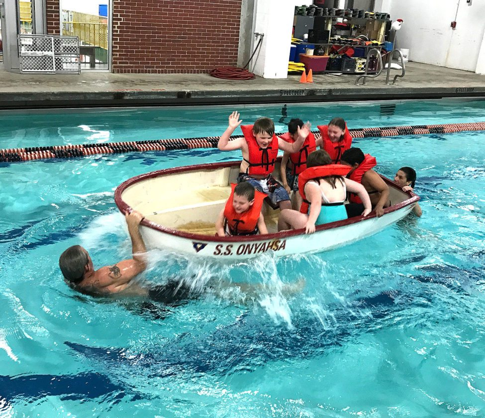 Ring Elementary School students learned aquatic safety at the YMCA. The YMCA offers aquatic safety to all Jamestown Public Schools second graders to understand basic pool rules, ice safety and basic rescue, what to do if someone is in trouble in water and boating safety.