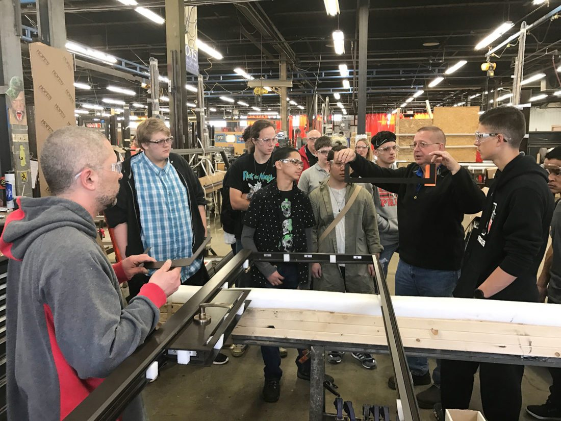 Jamestown High School's Academy of Pre-Engineering, Manufacturing, and Industrial Technology students took a tour of Hope's Windows to learn more about career opportunities and how a manufacturing plant operates. Hope's Windows is one of many community partners who help our students learn more about potential careers while still in high school.