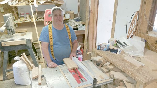 Walt Covert opened Walt's Woodworking in Sherman four years ago to keep him occupied during retirement. He was a diesel-engine mechanic for 45 years. P-J photo by Charles Erickson