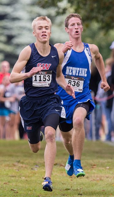 Southwestern's Eddie Scroxton held off Samuel Auernhamer of Newfane to claim the boys Small School race. P-J photo by Tim Frank